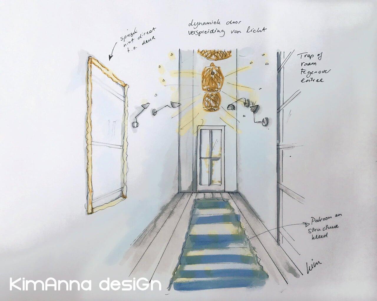 Inrichtingsidee voor hal, spelen met licht, spiegel en patronen Kim Anna desiGn